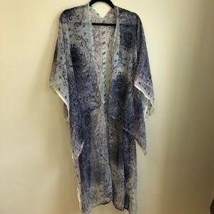 BCBGeneration Blue Flowy Kimono